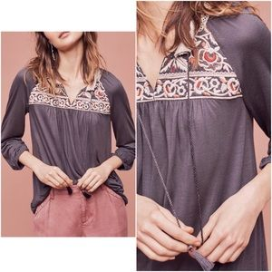 Anthropologie Nightingale Embroidered Top Sz XS